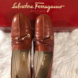 Salvatore Ferragamo 9 AA Cognac Bwn Leather Tassel